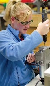 An employee assembles a gearmotor in Groschopp's Sioux Center, Iowa, manufacturing facility.  (Special to CIRAS)