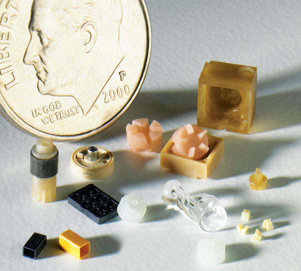 Examples of small plastic parts.