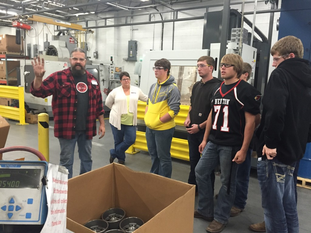 Three Industrial Technology classes at Newton High School toured Thrombert Inc., a Newton company that was founded in 1046 and has grown to become the leading manufacturer of polyurethane wheels and tires for electric forklift trucks ans other materials handling equipment.