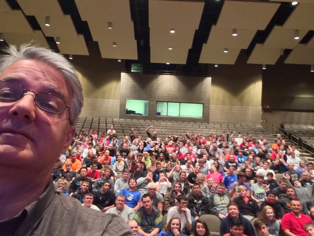 For MFGDay 2015, roughly 250 students from Gleenwood High School took a selfie with CIRAS project manager Paul Dunnwald and heard a presentation about the future need for employees at Feed Energy Co., which makes animal feed supplements in nearby Pacific Junction.