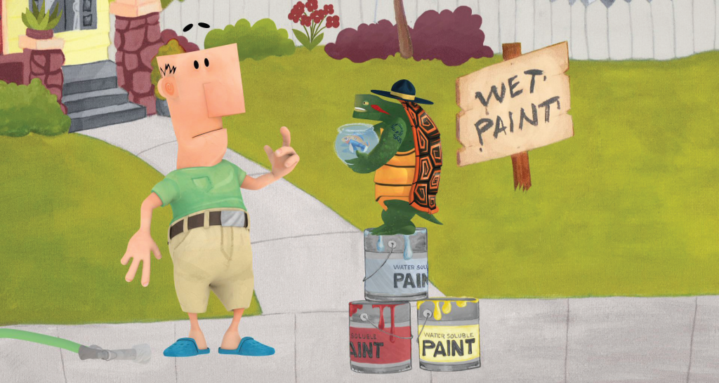"Civilian, Mingo the Fish, and Sergeant Red—all characters Grasshorse created and animated for the ""Painted Turtle"" public service announcement for Tulsa Stormwater."
